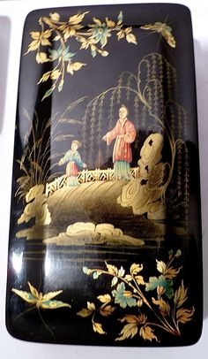 Early Victorian Chinoiserie Papier Mache Lacquered Box ca. 1840 image 7