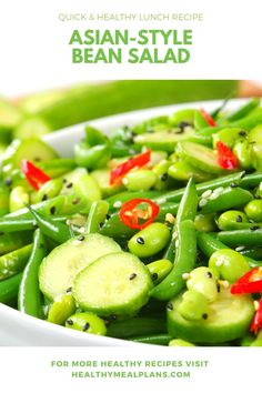 This fresh bean salad recipe is loaded with flavour and makes a delicious lunch dish or a great side option for dinner! Quick Healthy Lunch, Healthy Dinner Recipes, Healthy Eating, Cooking Recipes, Healthy Food, Asian Style Green Beans, Green Bean Salads, Bean Salad Recipes, Recipe Details