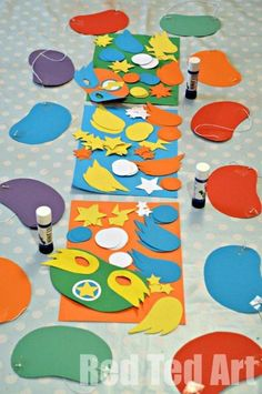 Instead of masks, make your own angry bird!  Could even make eye holes so they would be masks Red Ted Art's Blog » Blog Archive Superhero Masks (+ Template) - Party Activity