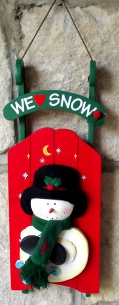 Christmas Decor Wooden Snowman Sleigh Holiday Sled.