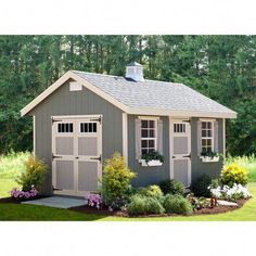 The EZ Fit Riverside 10 x 14 ft. Shed Kit is a backyard shed with a cozy, homey look. This shed kit features a set of pre-hung double doors, one pre-hung. Backyard Studio, Backyard Sheds, Outdoor Sheds, Diy Shed Kits, Storage Shed Kits, Diy Storage, Small Storage, Outdoor Storage, Wood Shed Kits