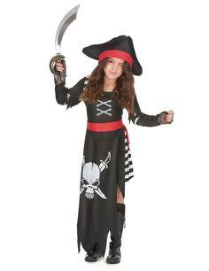 Déguisement pirate fille : Ce déguisement de chef des pirates pour fille se compose d'une robe noire élastique à la taille munie d'une fausse ceinture rouge cousue.La partie jupe est à...