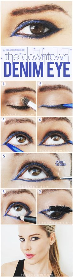 The blue eye shadow look for a sultry night out out in the town.