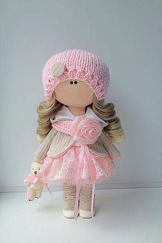 Pretty Dolls, Cute Dolls, Beautiful Dolls, Doll Crafts, Diy Doll, Doll Painting, Doll Maker, Felt Toys, Soft Dolls
