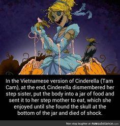 Cinderella , memes, and skull: in the vietnamese version of cinderella (tam cam Creepy Facts, Wtf Fun Facts, Funny Facts, Funny Memes, Creepy Stuff, Funny Stuff, Creepy Things, Random Facts, Funny Gifs