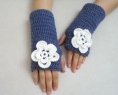 Gloves Accesories Jean blue Spring Gloves gifts by BloomedFlower, $24.00