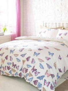Coloured butterfly print duvet