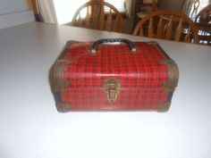 Vintage Suitecase PLAID METAL Wood Luggage Cosmetic Childrens Doll Trunk Red Plaid Metal Doll Case 1950s Trunk Home Decor Display by CountryMileCottage on Etsy