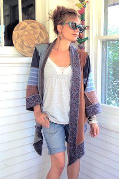 Eco wrap JACKET,  Artisan, upcycled, clothing ,  knit jersey, asymmetrical, blue & rust mix, size O/S, lightweight, by Zasra. $80.00, via Etsy.