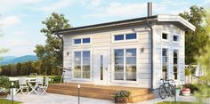 Attefall Trend Deluxe with a loft. Exclusive model of Attefallshouse that offer a headroom of meter below the loft and a spacious area at the loft. Shed Design, House Design, Sauna House, Ikea Home, Cute House, Tiny Spaces, Little Houses, Tiny Houses, Cabin Homes