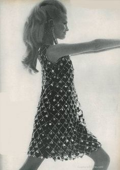 portrait of a lady wearing a Malcolm Starr party dress, 1966.