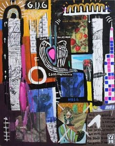 Victor Tricar- KRISH ROOM /Acrylic and collage on wood - 2015