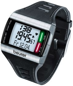 Beurer PM 62 Pulsuhr Heart Rate Monitor Watch. Fitness test on watch included: Indicates personal fitness level, training zone suggestion, basal metabolic rate, active metabolic rate and Vo2 Max. Programmable target heart rate zones that record time in/above/below zones. Calculates calories and fat burned during exercise. Average and maximum heart rate. Includes bicycle mounting bracket, 2-year warranty.