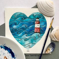 seas, oceans and lighthouses❤️ #all_I_love ℹ️Yes, it will be a little set of hearts and things I love. #shapeofmyheart #artistsoninstagram #illustration #illustrations #eatsleepdraw #painteveryday #seaart #ocean #lighthouse
