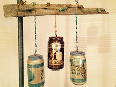 Recycled Fl beer cans Wind Chimes For Sale, Beer Cans, Mason Jar Lamp, Recycling, Table Lamp, Canning, Home Decor, Table Lamps, Decoration Home