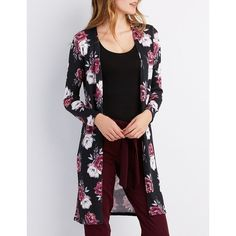 Charlotte Russe Floral Open-Front Duster Cardigan ($16) ❤ liked on Polyvore featuring tops, cardigans, multi, charlotte russe, long floral cardigan, open front cardigan, knit cardigan and long knit cardigan