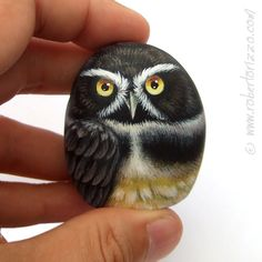 Original Hand Painted Spectacled Rock Owl by RobertoRizzoArt