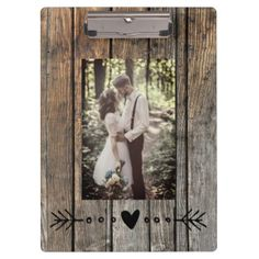 Add your photo natural wood texture clipboard - wood wedding style nature diy customize personalize marriage