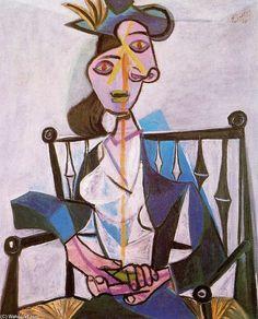Acheter Tableau 'Femme assise (Dora Maar)' de Pablo Picasso - Achat d'une reproduction sur toile peinte à la main , Reproduction peinture, copie de tableau, reproduction d'oeuvres d'art sur toile