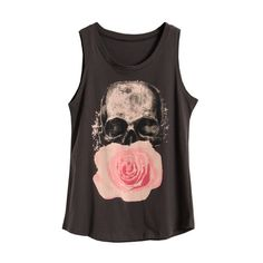 Skull Floral Dark Grey Vest ($20) ❤ liked on Polyvore featuring tops, shirts, tank tops, tanks, skull tank, sleeveless vest, cotton tank, floral print shirt and floral shirt