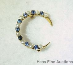 Victorian Genuine Cornflower Blue Sapphire 14k Gold Seed Pearl Crescent Pin
