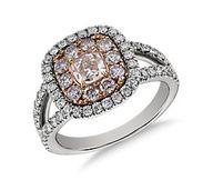 Pink  Cushion Micropavé Split Shank Halo Diamond Ring in Platinum and Rose Gold #bluenile #engagement #celebstylewed #weddings