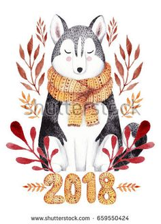 Watercolor greeting card for 2018 new year . Husky dog cute illustration.