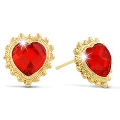 Ruby Red Swarovski Elements Heart Shape Stud Earrings, Pushbacks.  These earrings have stunning ruby red colored Swarovski crystal elements in a heart shape. Gems are outlined with an antique yellow gold color setting. Earrings measure 11mmx 11mm and have secure pushbacks.