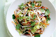 Dress pork, wombok and snow peas in sesame soy dressing for the ultimate spring salad.
