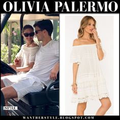 Olivia Palermo in white lace off shoulder summer dress at Mustique Island