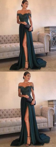 Lace prom dress,Mermaid Prom Dress,Cheap Stain Prom Dress, off shoulder prom dress, slit prom dress, long evening dress, simple prom dress