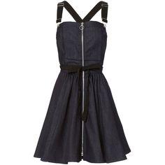 Adam Selman Women's Denim Overall Dress ($525) ❤ liked on Polyvore featuring dresses, dark denim, button dress, denim a line dress, denim bib dress, zip dress and bib dress