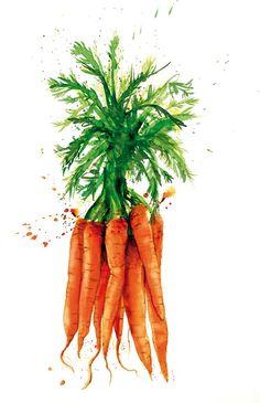 Сочные овощи Georgina Luck из акварельных клякс