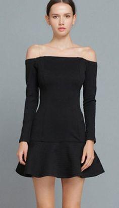 Black Long Sleeve Boat Neck Ruffle Dress