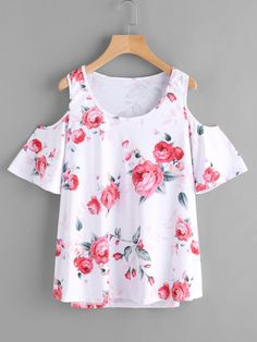 SheIn offers Open Shoulder Floral Print Top & more to fit your fashionable needs. Fashion Dress Up Games, Fashion Outfits, Outfits For Teens, Girl Outfits, White Cold Shoulder Top, Modern Tops, Tumblr Outfits, Summer Blouses, Western Outfits