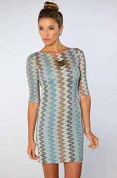 $92 The Larisa Zig Zag Knit Dress in Blue by BB Dakota - Use repcode SMARTCANUCKS for 10-20% off on #karmaloop - http://www.lovekarmaloop.com