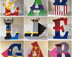 Superhero/Marvel Personalised Freestanding MDF Wooden Letters by AngelaCLetters on Etsy - Visit to grab an amazing super hero shirt now on sale! Superhero Letters, Diy Letters, Letter A Crafts, Wood Letters, Superhero Room Decor, Painting Wooden Letters, Painted Letters, Hand Painted, Decorate Wooden Letters