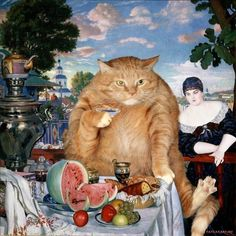 Merchant's Wife at Cat's Tea by Svetlana Petrova on Curiator, the world's biggest collaborative art collection. Tag Art, Digital Museum, Collaborative Art, Famous Art, Ginger Cats, All About Cats, Fat Cats, Rembrandt, Surreal Art