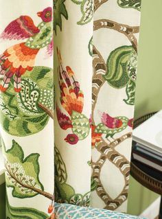 Henrietta Fabric col. Evergreen. A beautiful tree of life fabric featuring stylistic birds. The Textile Company is the exclusive distributor in Australia and New Zealand