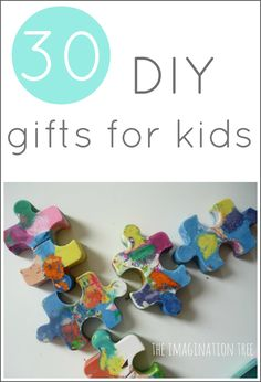 Here are 30 ideas for DIY gifts to make for kids that are playful, creative and won't cost too much in time or materials. With links to gift guides for kids