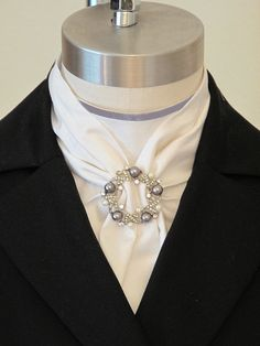 Pearls and Roses Stock Tie Dickey - Show Hack Dressage Side Saddle Stock Tie Dickie with Pearl and Crystal Jewelry Piece