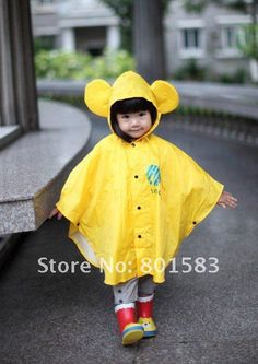 Free shipping Lovely children raincoat/poncho cape/Bat sleeve raincoat /Kids Rain Coat/Children's rainwear/Baby Raincoat 1pcs US $25.77