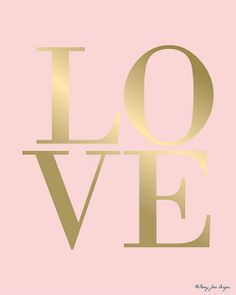 Pink Gold Love Wall Art, Love Art Print Anniversary Wedding Gift Home Decor Wall… Pink Love, Pink And Gold, Pretty In Pink, Vintage Glam, Everything Pink, Love Is All, Web Design, Valentines, Printables
