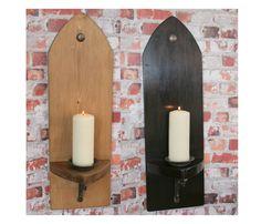 GOTHIC WALL SCONCE 70cm Large Candle Holder + Cast Iron Bracket & Plate - Choose Finish