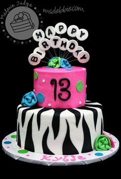 13th birthday girl neon | The party colors were blue, hot pink, and lime green! This cake is a ...