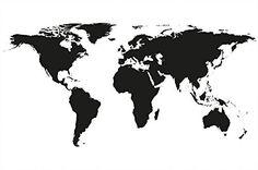 Carte du monde moderne avec continents noir et blanc Photo murale par GREAT ART…