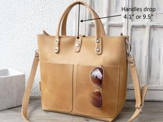 Small leather tote bag woman leather tote with optional
