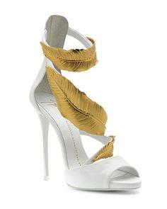25712ffcff2 Giuseppe Zanotti Tropical Leaves White  amp  Gold Sandal  Shoes  Heels   GiuseppezanottiHeels Gold