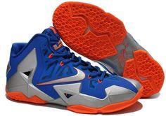Nike Lebron 11 Blue Grey Orange Shoes