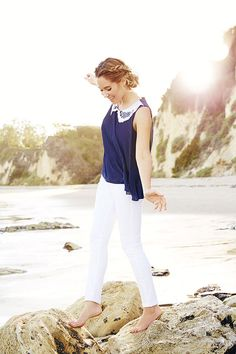 This is my summer style this year. .white bottoms~chic / sheer tops :-)   LC Lauren Conrad - April Kohl's Collection